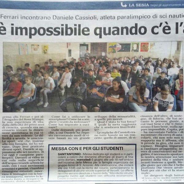 articolo-giornale-daniele-cassioli-nulla-impossibile